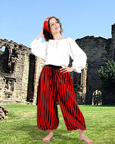 Pirate Pants Medieval Renaissance Adult Unisex Cotton S - XXL 3 Color Combos NEW