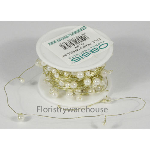 Ivory pearls on Gold wire 8 metre long reel of 4-6mm pre wired acrylic pearls