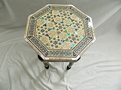 """Egyptian Inlaid Mother of Pearl Paua Wood Room Table Hexagonal 12"""" Quality"""