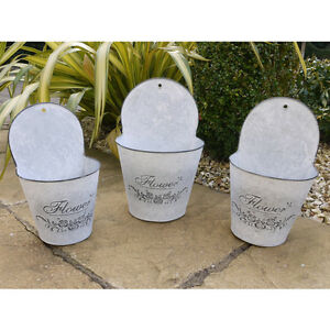 Galvanized Metal Wall Hanging Plant Pots Planter Set Of 3 Flowers