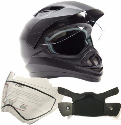 Snowmobile Helmet Dual Sport Matte Black Snow w// Double Pane Shield