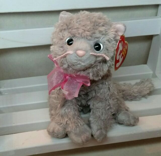 TY 2004 FLUFF the CAT BEANIE BABY - SOFT New with Tag protectors