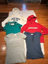 5 Junior Girls A&F:Button Up Polo&Short Sleeve Shirts&Hoodies Size M