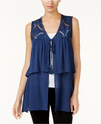 August Silk Tiered Crochet-Contrast Vest Blue