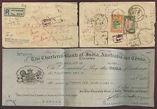 CEYLON 1947 RETURNED LETTER + BANK DRAFT CHEQUE CHARTERED INDIA AUSTRALIA CHINA
