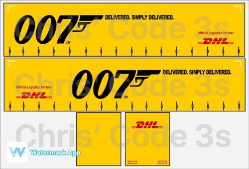 007 DHL livrée Code 3 Adhésif Vinyle remorque Decal 1//50 1//76 1//148
