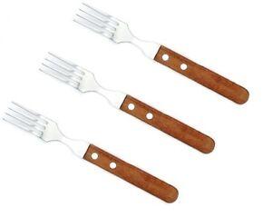 Set-3-Forchette-Acciaio-Inox-Manico-In-Legno-Posate-Cucina-Casa-dfh