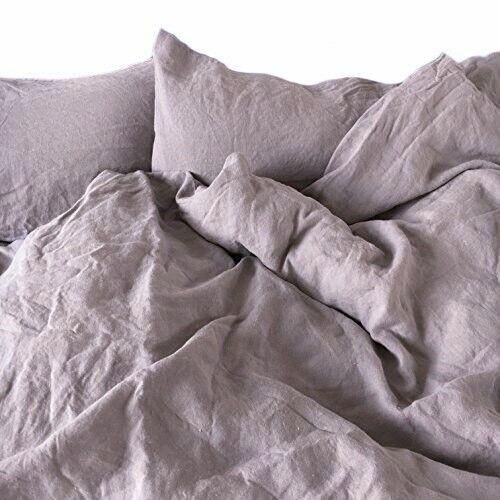 Bettwäsche-Set aus 100%Leinen  Stonewashed  (135x200, 40x80), Flieder-grau