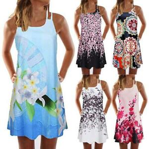 Floral-Print-Straps-Dresses-Women-O-Neck-Sleeveless-A-line-Loose-Dress
