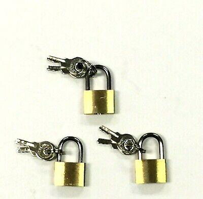 1-18 PC Small Metal Padlocks 20mm Mini Brass Locks Jewelry Safe Box W 2 Keys**