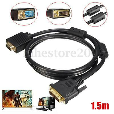 5FT DVI 24Pin Male to VGA 15Pin Male Connector Cable PC to CRT TV LCD Monitor
