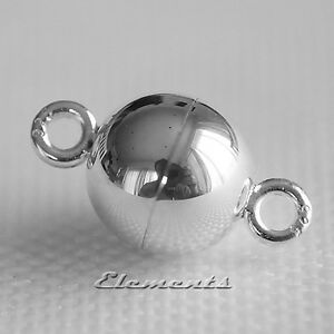 Strong 925 Sterling Silver Ball Magnetic Clasp Necklace