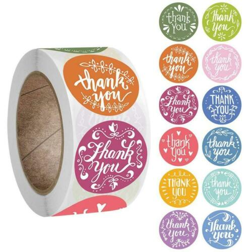 500Pcs//Roll 12 Styles Round Thank You Stickers Wedding Gift Packaging Seal Label