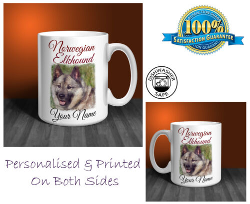 Norwegian Elkhound Personalised Ceramic Mug Perfect Gift. D266