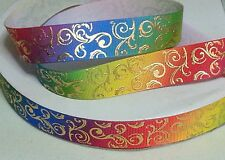 "MULTI-COLORED GOLD PRINTED DESIGN GROSGRAIN RIBBON - 7/8"" X 1 YD-BOWS-DECORATION"