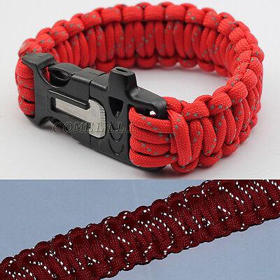9'' Survival Paracord Bracelet w/ Flint Fire Starter Scraper Whistle Red Reflect
