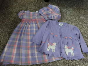 HARTSTRINGS BABY 18M 18 MONTHS PURPLE PLAID SMOCKED DRESS POODLE SWEATER SET