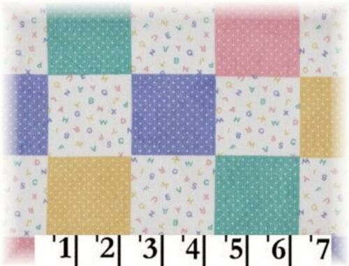 BTY Baby Blocks Fabric ABC Patchwork Pastel Quilt Squares