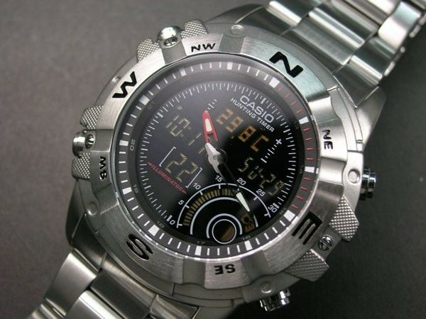 AMW-705D-1A Black Men's Watch Outgear Hunting Timer 100m Stainless Steel Band