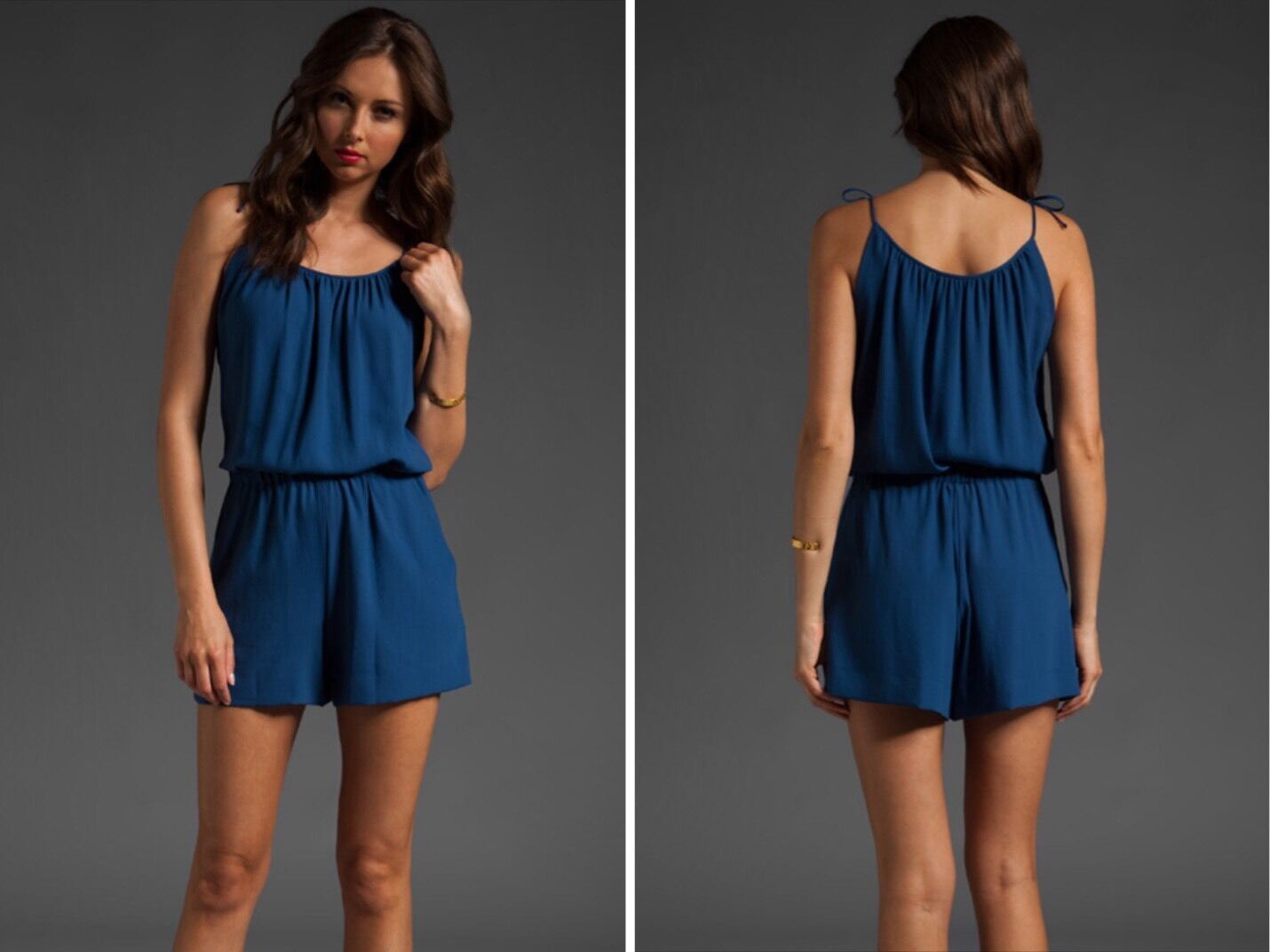 NWT THEORY LIRIANNA bluee Short Romper Jumper Large Retail