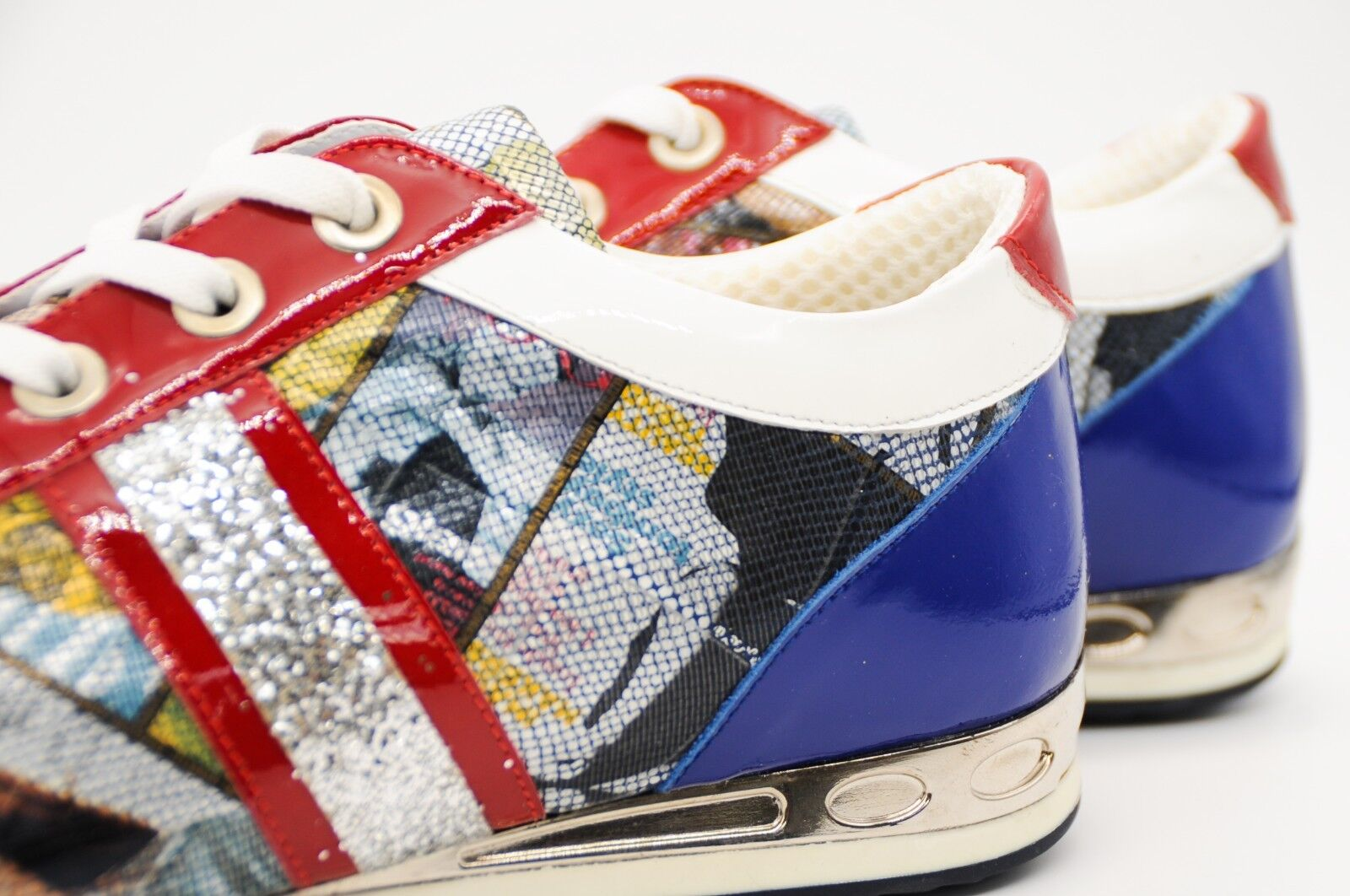 LADIES' PATENT LEATHER LEATHER LEATHER TRAINERS PUMPS WITH A MULTICOLGoldt MOTIF VOGUE PRINT 2baf96