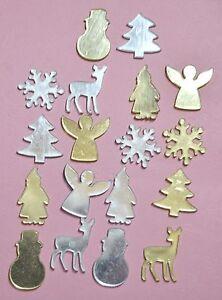 18 Acrylic Mirror SiLVER /& GOLD Christmas Embellishments