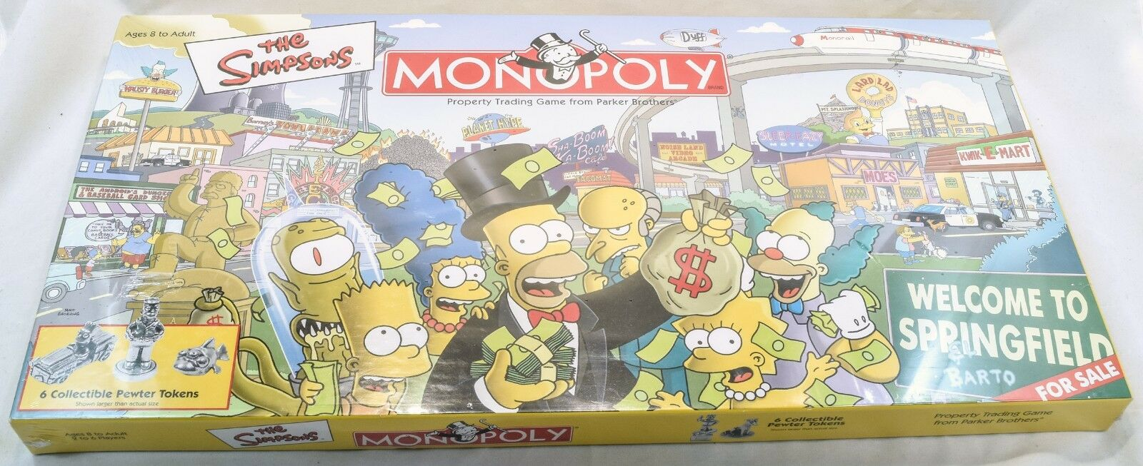 The Simpsons Monopoly Board Game Welcome To Springfield New Sealed Box Has Wear