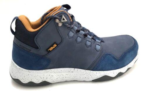 Teva Men/'s Arrowood Lux Mid Waterproof Blue and Cognac Leather Shoes Size 9