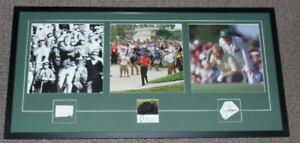 Tiger-Woods-Arnold-Palmer-Jack-Nicklaus-Signed-Framed-19x37-Photo-Set-JSA