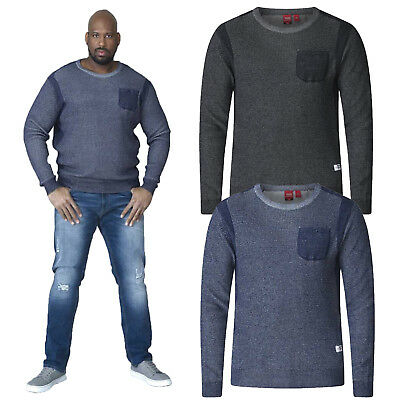 Duke D555 Mens King Size Bryson Crew Neck Jumper Knitted Single Pocket Sweater