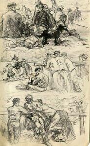 Dessin-Ancien-Original-Marins-Personnages-Chien-Famille-Scene-de-Genre