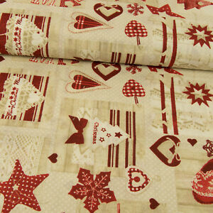 Decorative-Fabric-Christmas-Xmas-Red-Stars-Hearts-Patchwork-Look