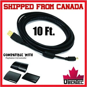 10Ft-Premium-Controller-Charger-Cable-USB-Mini-28-24AWG-Gold-Plated-For-PS3