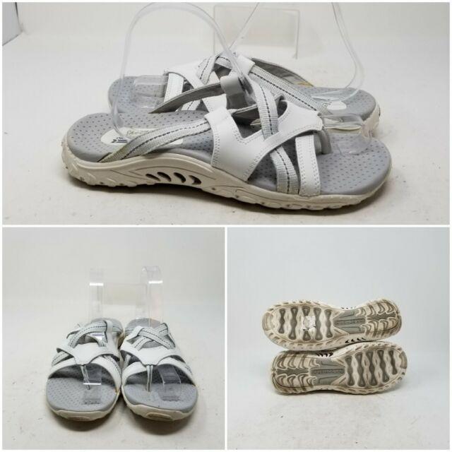 Skechers Outdoor White Fuax Leather Stra Slip On Sandal Slides Womens Size 8