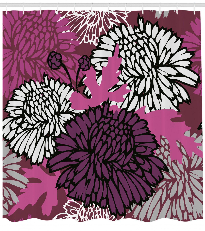 Dahlia Shower Curtain Fabric Bathroom Decor Decor Decor Set with Hooks 4 Größes Available 7b7d5b
