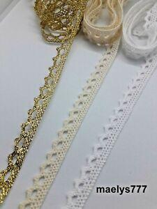 Ruban Galon Dentelle coton crochet 11mm couture scrapbooking décoration Lot 5M