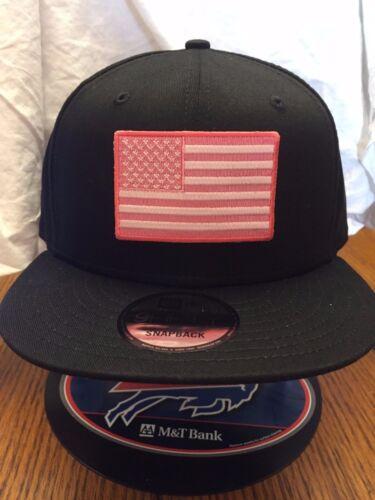 New Era NE400 Black Snapback Flat Bill Hat//Cap W// Pink//White American Flag