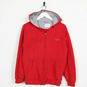 Vintage-NOT-SURE-Small-Logo-Zip-Up-Hoodie-Sweatshirt-Red-Medium-M