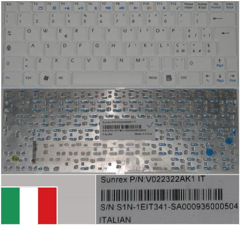 Italian qwerty keyboard msi u100 mini 1210 e1210 v022322ak2 s1n