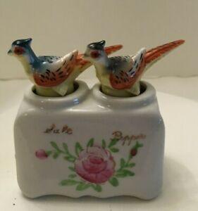 Pheasant-034-Nodder-034-Vintage-Salt-amp-Pepper-Shaker-Set-Souvenir-of-Mexico