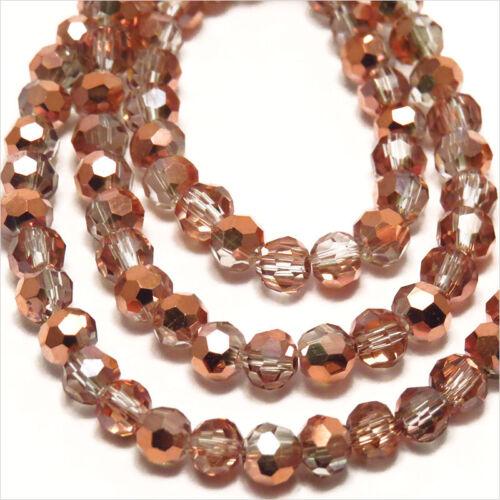 Lot de 50 perles à FACETTES 4mm en Cristal de Bohème Capri Or
