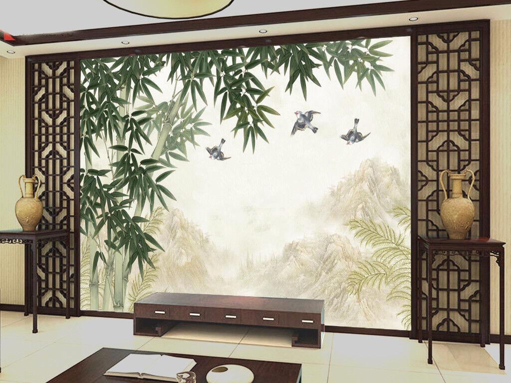 3D Bamboo Bird Hills 7 Wall Paper Murals Wall Print Wall Wallpaper Mural AU Kyra