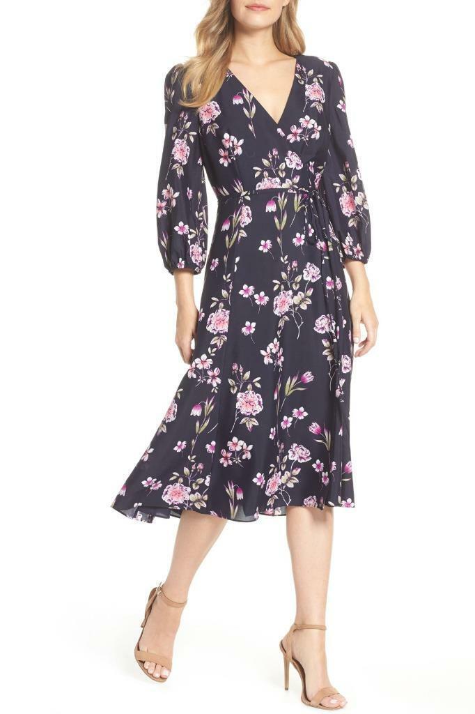 Eliza J Floral Print Wrap Dress -Größe 8 Petite (F)