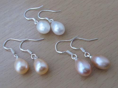 Nouveau 3 Paires De Pêche Blanche Lavande Argent Sterling D/'eau douce Perle Boucles d/'oreilles pendantes