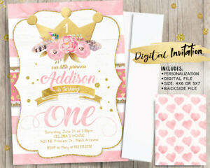 Amazon Com Pink Gold Princess 1st Birthday Invitations Girl First Invite Handmade