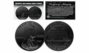 1943-TRIBUTE-Steelie-WWII-PENNY-Coin-Clad-in-Genuine-BLACK-RUTHENIUM-Lot-of-3