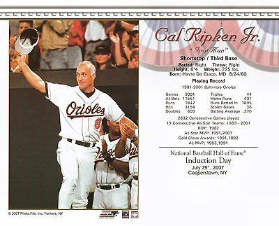Cal Ripken Jr. Baltimore Orioles Baseball Hall of Fame 8x10 Glossy Color Photo