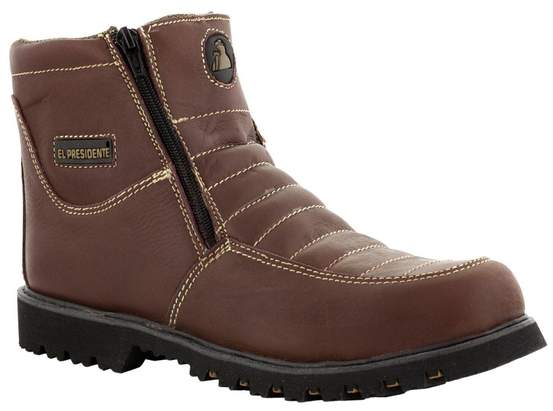 Mens Burgundy Tough Durable Rubber Sole Slip Resistant Boots shoes Zipper