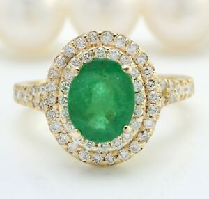 5-40-Ct-Natural-Esmeralda-Zambiana-amp-Diamonds-en-14K-Oro-Amarillo-Macizo-de