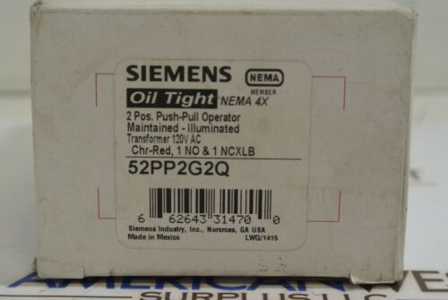 SIEMENS 52PP2G2Q OIL TIGHT 4X 2 POS. PUSH PULL OPERATOR NEW IN BOX